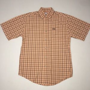 Carhartt Short Sleeve Button Up Plaid Orange Small